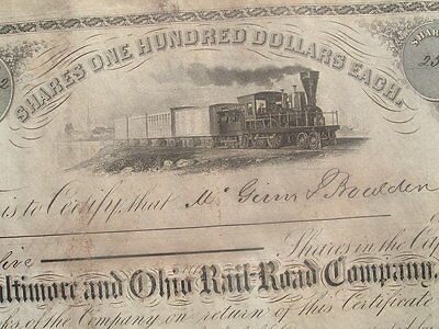 1860 EARLYJohns Hopkins,(Founder of Hospital),Signed Railroad Stock Certificate!