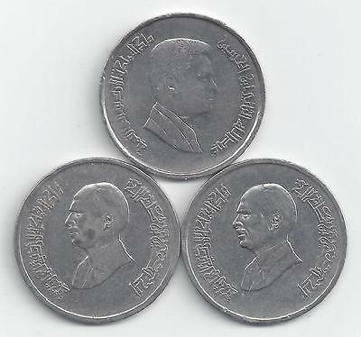 3 DIFFERENT 5 PIASTRE COINS from JORDAN (1996, 1998 & 2000)