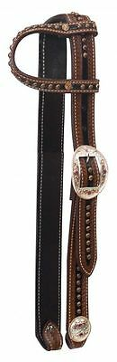Western Horse Bling Leather Headstall Breast Plate Collar Halter Spur Straps Set