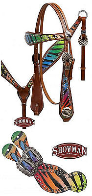 Western Horse Bling Rainbow Leather Bridle Breast Plate Collar & Spur Straps Set