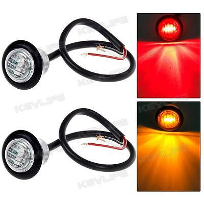 """3/4""""Amber/Red Mini Led Marker Clearance Light 3LED Aux Stop Turn Tail Clear Lens"""