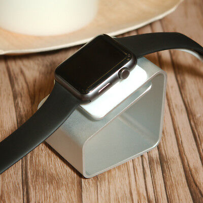 Apple Watch Stand Dock & Universal Charge Station Modern Cradle Silver Aluminum