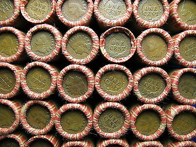 * Lincoln Wheat Penny Shotgun Roll With Indian Head Cents Showing On Both Ends *