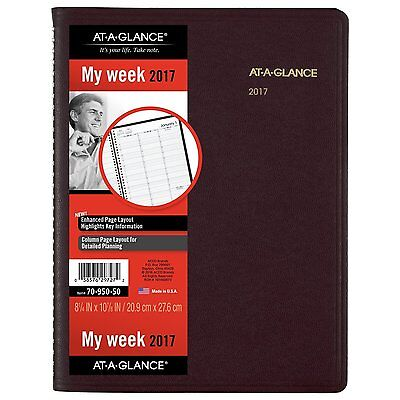 """AT-A-GLANCE Weekly Appointment Book/Planner 2017 8.25 x 10.88"""" Winestone 7095020"""