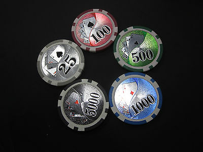 """NEW 500 Royal Flush Poker Chipset Chips """"Choose any Combo"""" w/ LEATHER CASE"""
