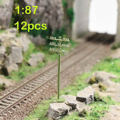 GY18087 12pcs Model Train Railway Round telephone poles 1:87 Scale HO wire NEW