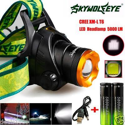 5000LM CREE XML T6 lampe frontale LED Rechargeable Pile 18650 chargeur USB