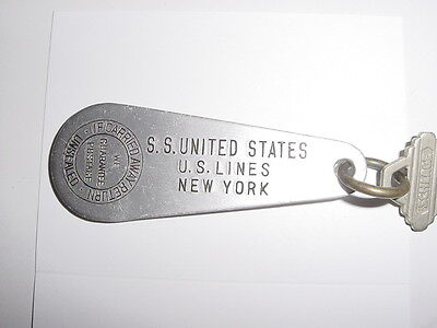 SS UNITED STATES LINES  Stateroom Key Tag  /  B-95  /  Top Condition