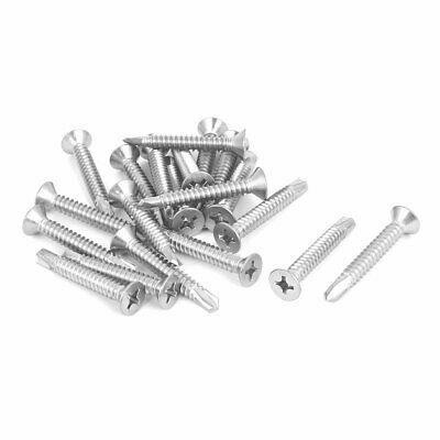 M6.3x45mm 410 Stainless Steel Countersunk Head Self Drilling Screws Bolts 20 Pcs