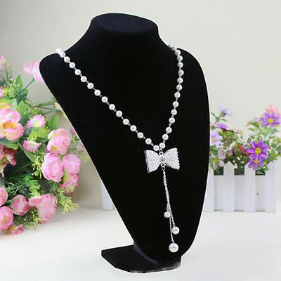 Multifunctional Chain Jewellery Necklace Display Holder Neck Bust Velvet Stand D
