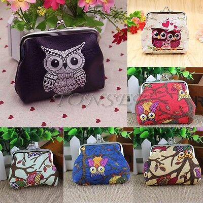 Mini Women Leather Cute Owl Printed Wallet Card Holder Coin Purse Clutch Handbag