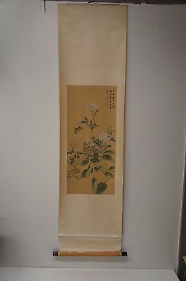 Japanese Silk Hanging Scroll Painted Scene Of Moth Butterflies & Flowers Artwork