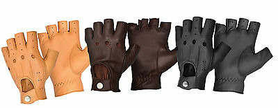 New Men Driving Gloves Finger Less Retro Soft Comfort Real Genuine Leather