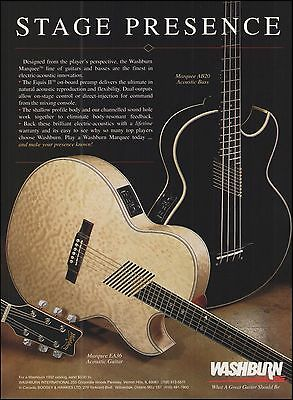 Washburn Marquee Series EA36 acoustic AB20 bass guitar ad 8 x 11 advertisement