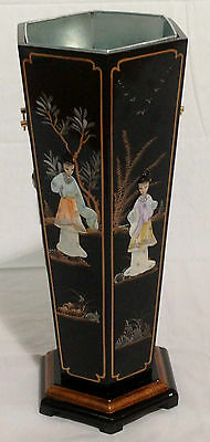 Black With Mother Of Pearl Umbrella / Walking Stick Holder Oriental Furniture