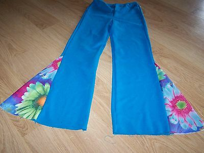Child Size Small 4-6 Wolff Fording & Co Turquoise Hippie Costume Dance Pants GUC