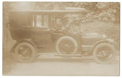 TRANSPORT Gentleman in Old Car, RP Postcard Unposted