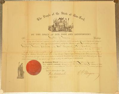 NY Governor Edwin D Morgan 1862 Civil War Military Appointment 100th Regiment