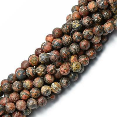 "8mm Faceted Leopard Skin Jasper Round Beads 15"" Strand Natural Gemstone Bead"
