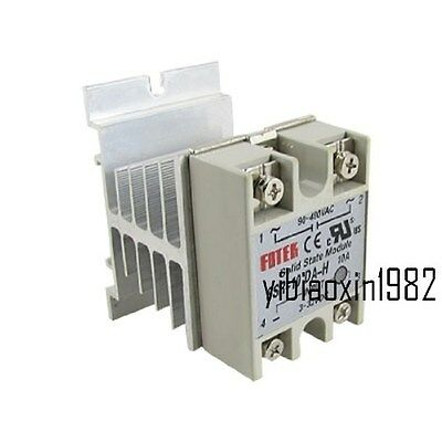 DC 3-32V 90-480V AC 10A SSR Solid State Relay SSR-10DA-H with Heat Sink new