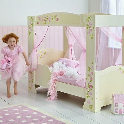 Girls Rose Print 4 Poster Toddler Mdf Bed Includes 4 Pink Voile Curtains New