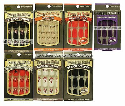 *FRIGHT NIGHT 24 Pre-Glued HALLOWEEN Press On Nails STILETTO+OVAL *YOU CHOOSE*