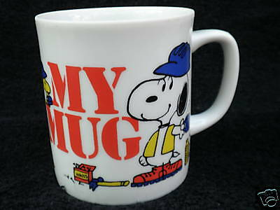 Coffee Mug Peanuts Snoopy & Woodstock Construction Workers for Dupont Coll'n Vtg