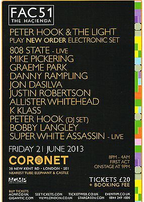 Hacienda 2013 Promo Flyer Factory Records FAC 51 - Peter Hook & The Light