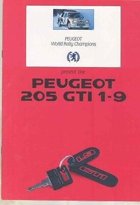 1987 Peugeot 205 GTI 1.9 Rally & Production Car Brochure England ww1451