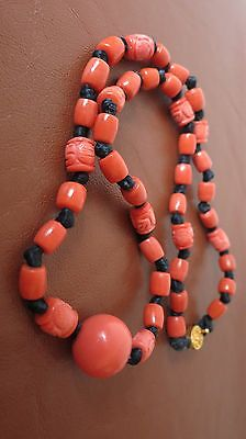 Antique Vintage Chinese Carved Shou Coral Color Peking Glass Beads Necklace 22""