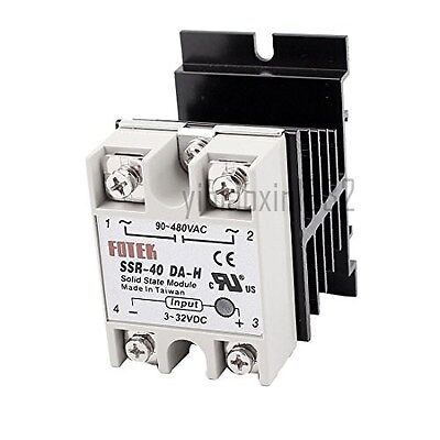 New SSR-40DA-H DC-AC 40A Solid State Relay 3-32VDC/90-480VAC + Heat Sink