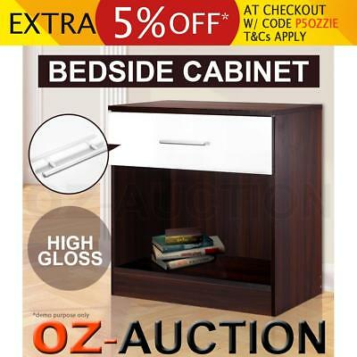High Gloss Bedside Table Cabinet Chest Storage Lamp Night Stand Single Drawer