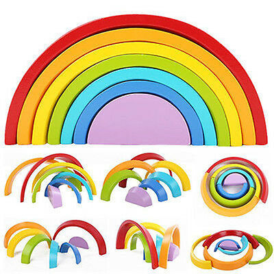 Hot Wooden 7 Colour Stacking Rainbow Shape Kids Childrens Educational Toy Set