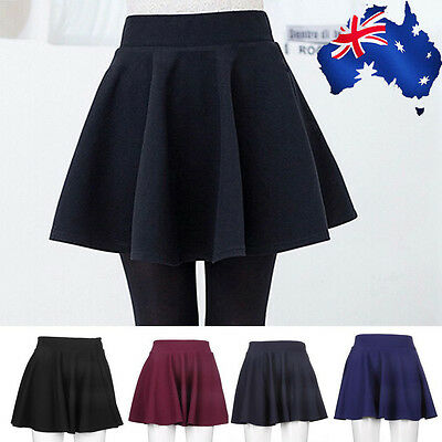 Fashion Women's Stretch Waist Plain Skater Flared Pleated Mini Skirt New KB