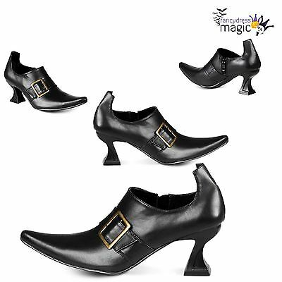 *Womens Ladies Black Buckle High Heel Witch Shoes Fancy Dress Costume Accessory*