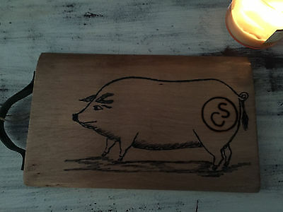 Primitive Bread Board Cutting Flour Wood  Pig FARMHOUSE Chic Crate 12 x 8