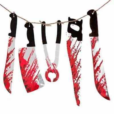1.8M Halloween Bloody Weapons Garland prop decoration blood Saw Knife Hanging