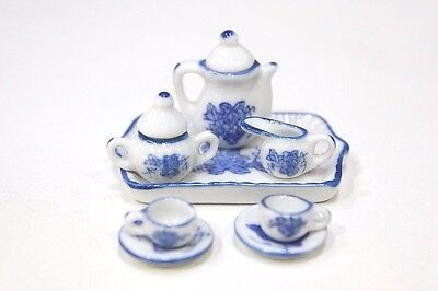 NEW Dolls House Accessories Tea Set White with Grapes Design 1/12th Scale