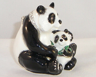 Kingspoint Poppa Panda And Baby Pewter  Bejeweled Hinged Trinket / Jewelry  Box