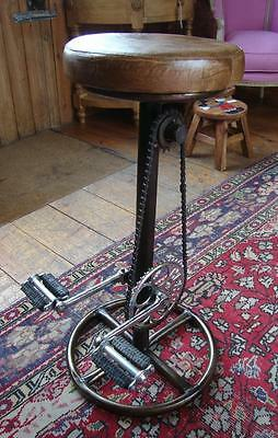 Retro Recycled Bar Stool - Bicycle Pedals Foot Rest - Iron Base - Leather Seat