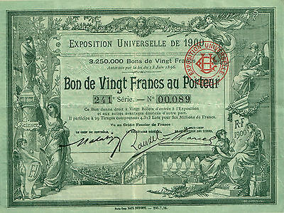RARE BEAUTIFUL ART NOUVEAU 1900 PARIS FRANCE WORLD'S FAIR BOND!! 1889 is $29.95