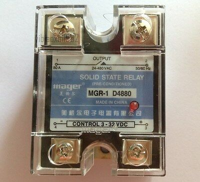 New Solid State Relay MGR-1 D4880 SSR 80A DC-AC Input 3-32V DC , Load 24-480V AC