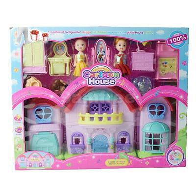 Plastic Cartoon Building Model Accessories 2 Pretty Girls Furniture Set Toy