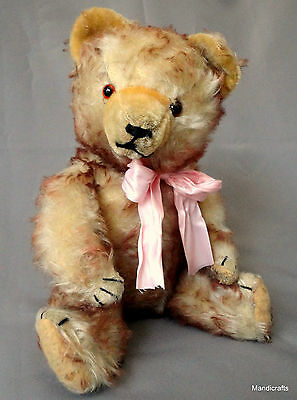 Max Hermann Teddy Bear 1950s Tipped Mohair Plush Germany 16in no ID Repairs Pads