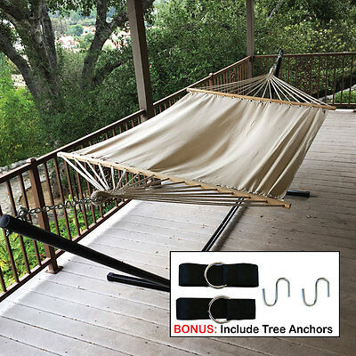 Double Hammock 2 Person Patio Bed Cotton Canvas Outdoor + Hanging Tree Strap