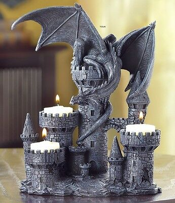 MEDIEVAL DRAGON On CASTLE TOWER Tealight CANDLE HOLDER NEW