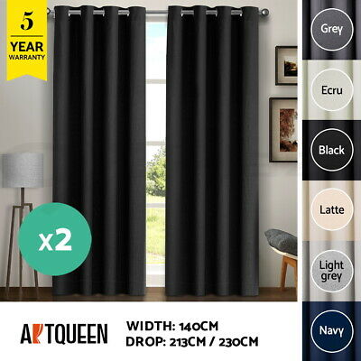 2X Blockout Curtains 140x230CM Textured Eyelet 100% 3 Layers Room Darkening