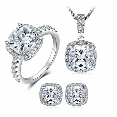 JewelryPalace 11ct Cubic Zirconia Wedding Halo 925 Sterling Silver Jewelry Sets