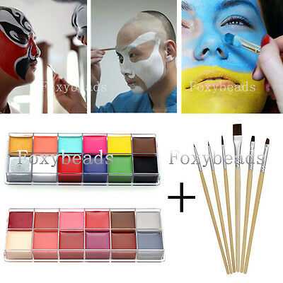 Set 12Colors Face Body DIY Painting Oil Art Makeup Kit + 6 Face Painting Brushes