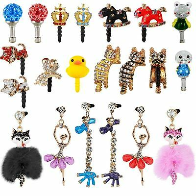 Crystal/glow/hanging-Animals Cartoon Anti Dust Ear Jack Cap For All Samsung